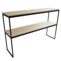 Op maat gemaakte stalen sidetable / wandtafel - Gepoedercoat stalen frame met houten planken