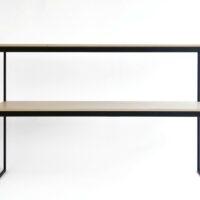 Stalen sidetable / wandtafel - Gepoedercoat stalen frame met houten planken