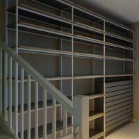 Stalen wandrek en boekenkast - reksysteem