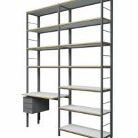 Wandkast met bureau en ladeblok - reksysteem