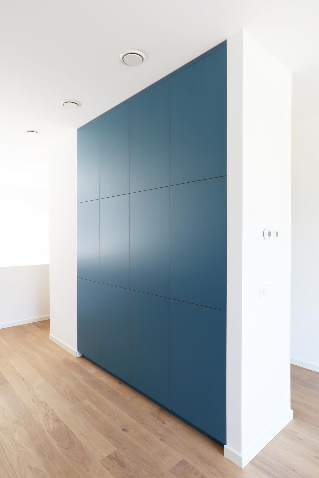 Op maat gemaakte inbouwkast voor woonkamer met spoelbak en gemaakt van berkenmultiplex voorzien van HPL